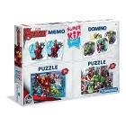 Super Kit 4 in 1 Avengers. Puzzle Domino Memo
