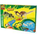 Set aerografo con dinosauri in legno