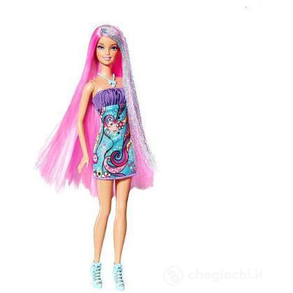 Barbie long hair - Glam bionda con meches viola (W3211)