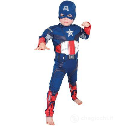 Costume Capitan America con muscoli taglia M