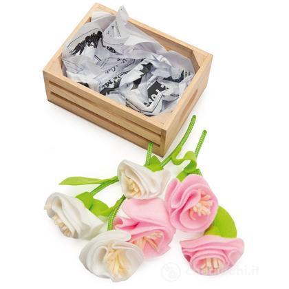 Cassetta legno con fiori in tessuto (TV186)