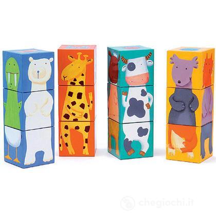 12 colour animals cubes