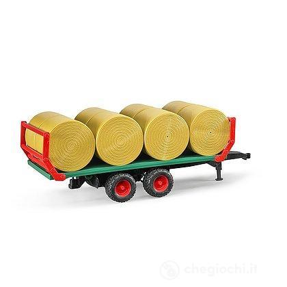 Rimorchio con 8 balle fieno rotonde (02220)