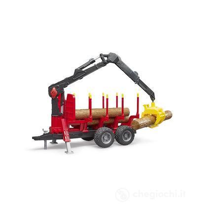 Rimorchio con 4 tronchi e braccio meccanico (2252)
