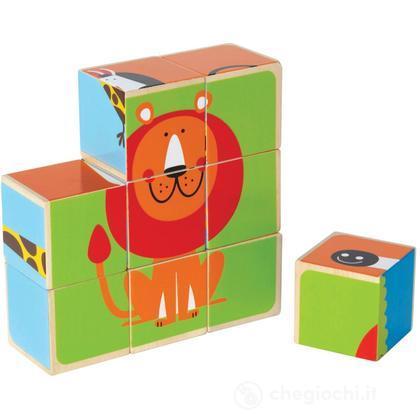 Puzzle in blocchetti con gli animali dello zoo (E0421)