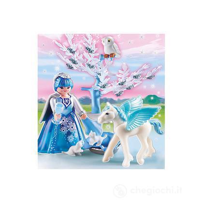 Bianca principessa dei ghiacci con cavallo alato (5354)