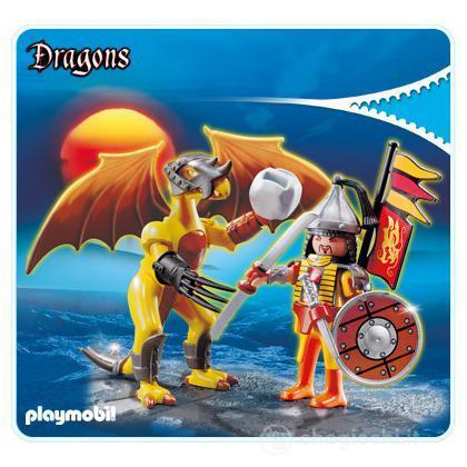 Drago Roccia Con Guerriero (5462)