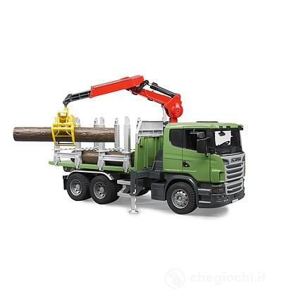 Scania R-Series trasporto 3 tronchi con gru (3524)