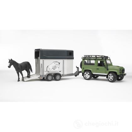 Land Rover Defender Station Wagon con rimorchio e cavallo (2592)