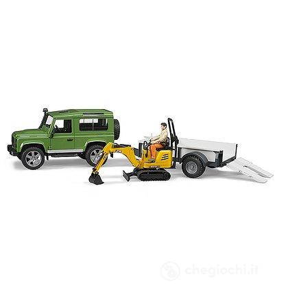 Land Rover Defender con rimorchio e JCB Micro escavatore con figura (2593)