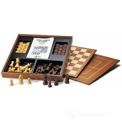 Completo scacchi, dama e tria in legno