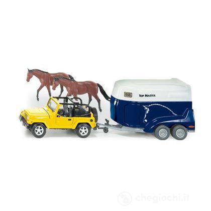 Jeep con rimorchio cavalli 1:32
