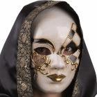 Maschera in cartapesta con lacrime glitter in busta