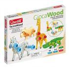 Tecno Animals Giraffa, Coccodrillo, Zebra, Rinoceronte 64 pz in legno