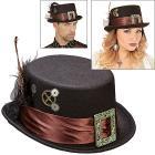 Cappello cilindro steampunk in feltro