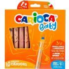 10 Pastelli Colorati 3 In 1 (Cera Matita E Acquerello) Carioca Baby