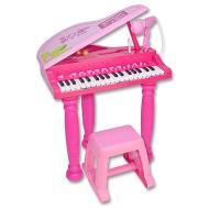 Pianoforte a coda con sgabello rosa (10 3071)
