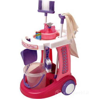 Carrello delle pulizie con aspirapolvere e accessori