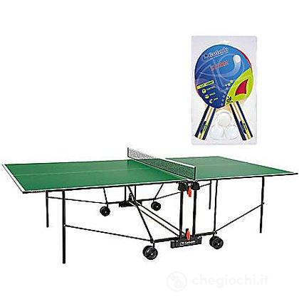 Tavolo ping pong Progress Indoor con ruote verde