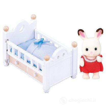 Bebè coniglio cioccolato con lettino (5017)