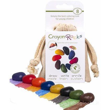 8 pastelli a cera a forma di sasso in un sacchetto di velluto (CRK-V08)