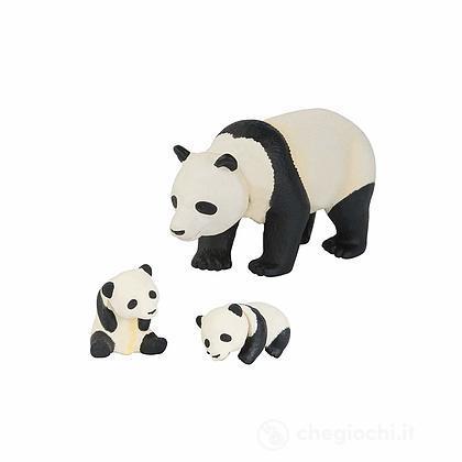 Panda con cuccioli. Animale in plastica con parti snodabili (LCT16055)