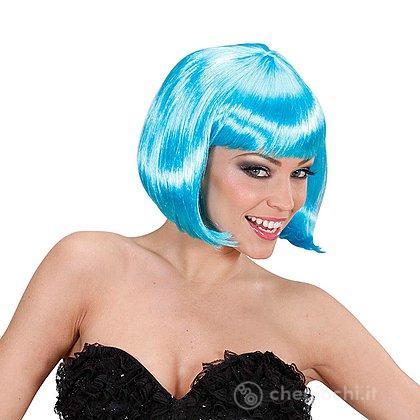 Parrucca caschetto azzurra