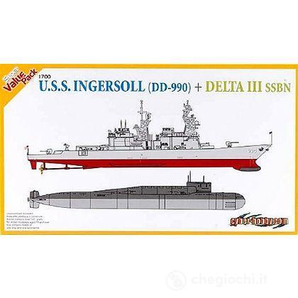 Nave cacciatorpediniere U.S.S. Ingersoll DD 990 + Sottomarino Delta III SSBN (7114D)
