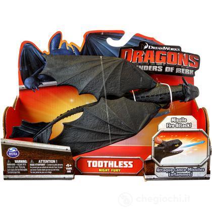 Sdentato Toothless nero con missili – Action Dragons