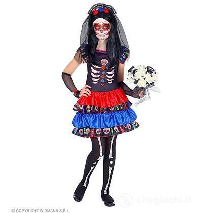 Costume mujer dia de los muertos scheletro 5-7 anni