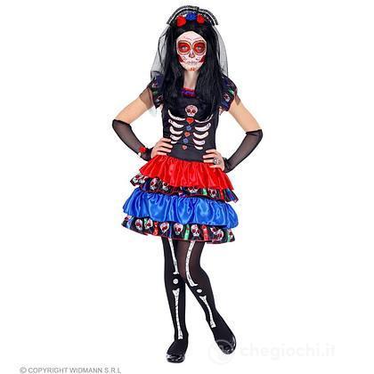 Costume mujer dia de los muertos scheletro 8-10 anni