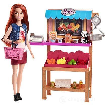 Barbie Negozio di Alimentari con Scaffali Bilancia e Accessori (barbie non inclusa)(FJB27)