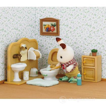 Fratello coniglio cioccolato con bagno playset e bambole - Bagno in miniatura ...