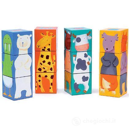 12 colour animals cubes