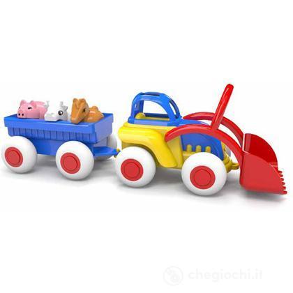 Midi trattore con rimorchio e animali
