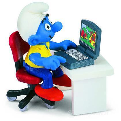 Puffo con computer portatile (40263)