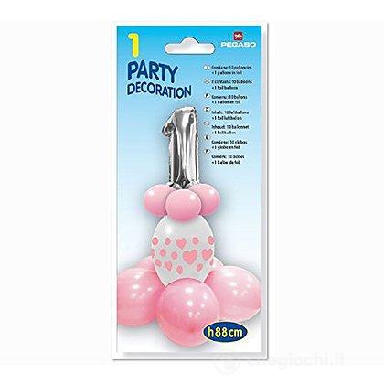 Kit Palloncini Compleanno 1 Anno Rosa (Pb300/03A)