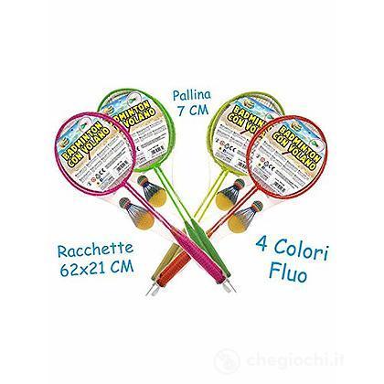 2 Racchette Badminton Fluo con Volano e Pallina in spugna