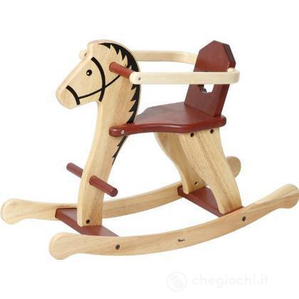 Cavallo a dondolo legno naturale con sicurezza