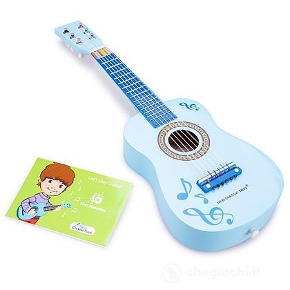 Chitarra blu con note musicali legno (10349)