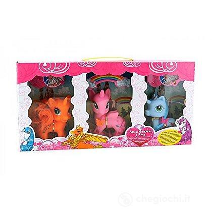 3 cavalli pony con accessori