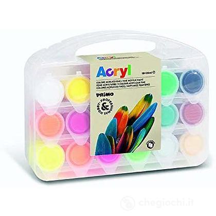 Valigetta 18 Colori Acrilici + 2 Cartoncini Telati