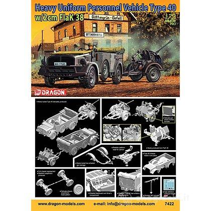 Veicoli corazzati Heavy Uniform Personnel Vehicle Type 40 + 2cm Flak 38 (7422)