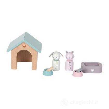 Playset cuccioli Casa delle bambole in legno - 8 pezzi (LD4475)