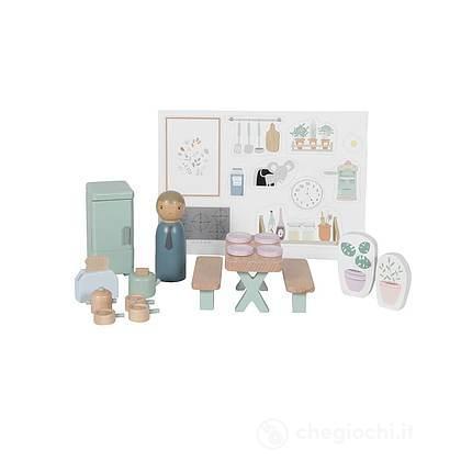 Cucina Casa delle bambole in legno- 19 pezzi (LD4476)