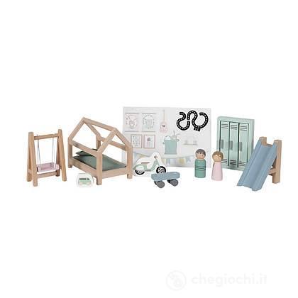 Cameretta Casa delle bambole in legno- 12 pezzi (LD4478)