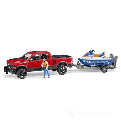 Veicolo Pick Up Ram 2500 Power Wagon con rimorchio moto d'acuqa e personaggio (02503)