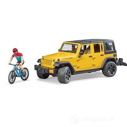 Jeep Wrangler con bicicletta e ciclista (02543)