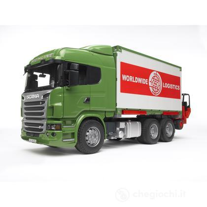 Scania R-series camion portacontainer con muletto (3580)