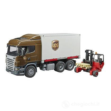Camion Scania R-series UPS portacontainer con muletto (03581)